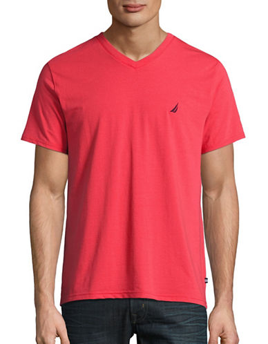 Nautica Slim-Fit Performance V-Neck T-Shirt-RED-Large 88849684_RED_Large