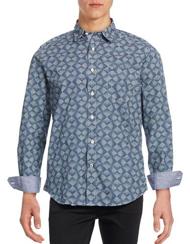 Nautica Printed Poplin Sport Shirt-BLUE-Small