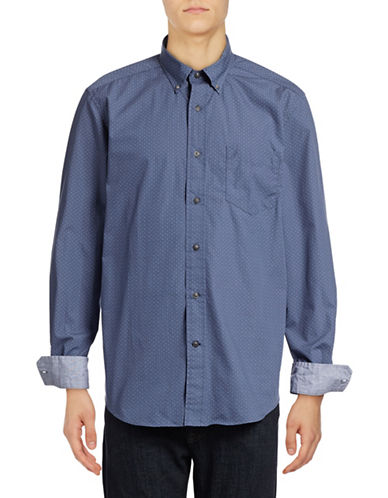Nautica Dot Print Sport Shirt-BLUE INDIGO-Medium