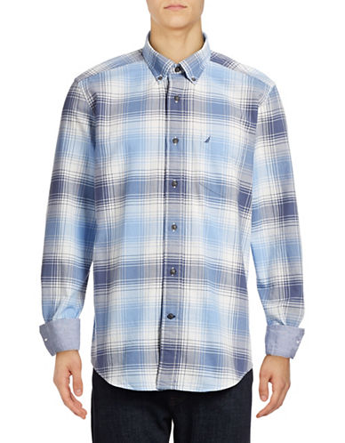 Nautica Plaid Oxford Cotton Sport Shirt-BLUE-X-Large