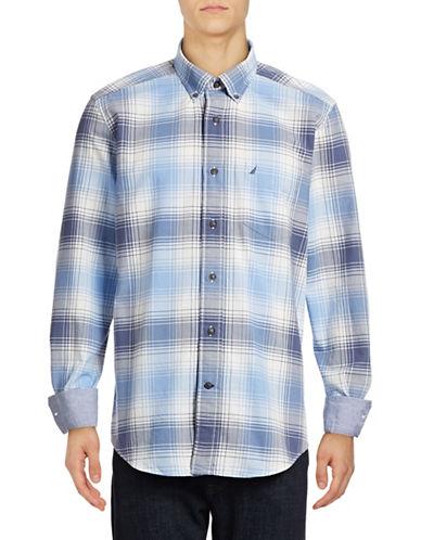 Nautica Plaid Oxford Cotton Sport Shirt-BLUE-Medium
