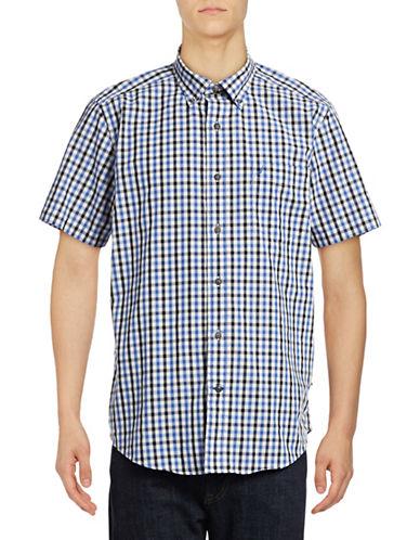 Nautica Short Sleeve Checkered Shirt-FRENCH BLUE-Small