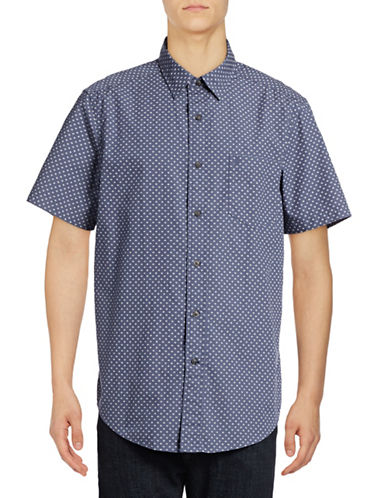 Nautica Short Sleeve Dot Print Sport Shirt-BLUE INDIGO-Large