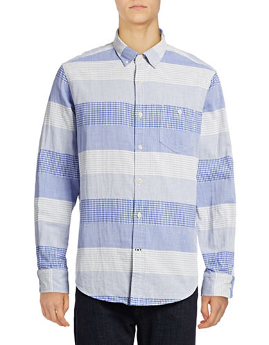 Nautica Slim-Fit Plaid Striped Sport Shirt-FRENCH BLUE-X-Large