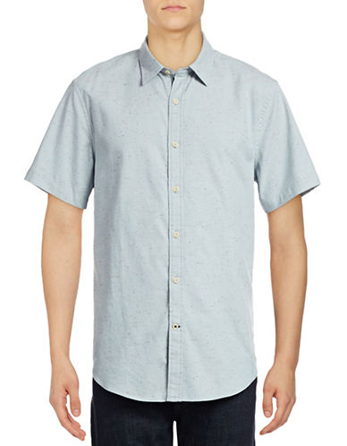 Nautica Slim-Fit Short Sleeve Heathered Shirt-BLUE-Small
