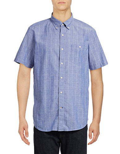 Nautica Slim-Fit Short Sleeve Dobby Plaid Shirt-FRENCH BLUE-Large