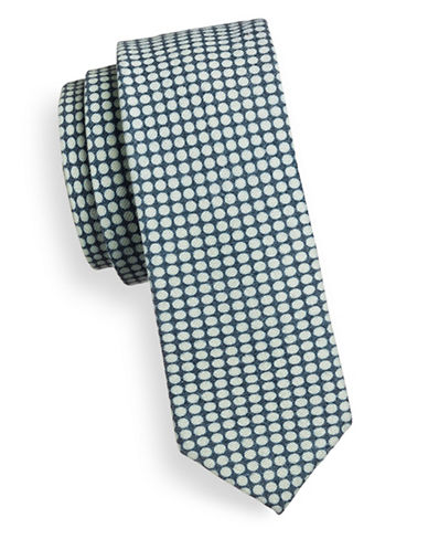 Sondergaard Dotted Cotton-Blend Tie-NAVY-One Size