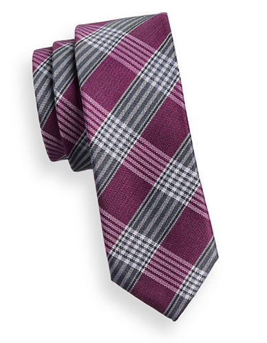 Sondergaard Plaid Linen-Silk Tie-PURPLE-One Size
