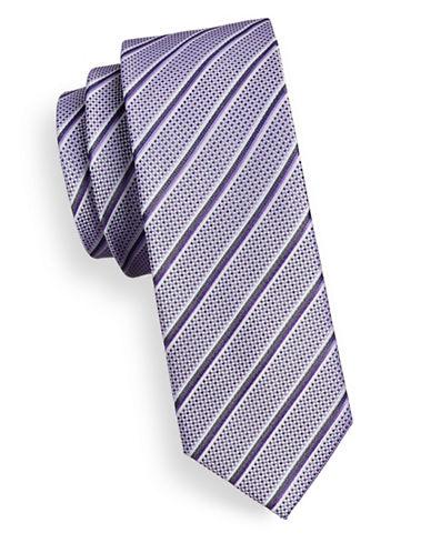 Sondergaard Striped Check Silk Tie-PURPLE-One Size