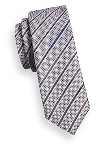 Sondergaard Striped Check Silk Tie-BEIGE-One Size