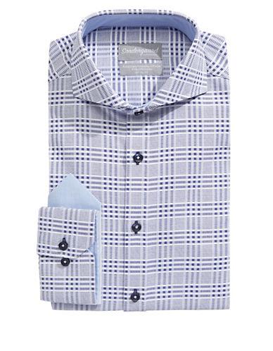 Sondergaard Modern-Fit Plaid Dress Shirt with Pocket Square-BLUE-14-32/33