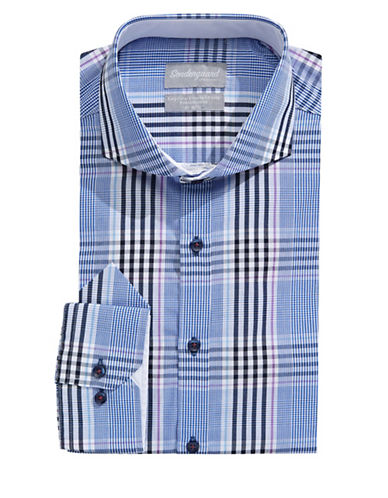 Sondergaard Modern-Fit Plaid Dress Shirt with Pocket Square-LIGHT BLUE-15.5-32/33