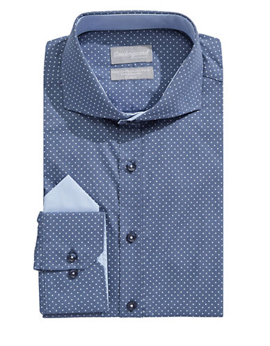 Sondergaard Modern-Fit Dot Dress Shirt with Pocket Square-NAVY-15-34/35