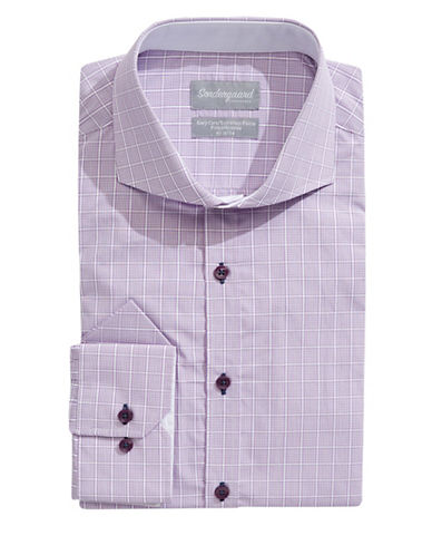 Sondergaard Modern-Fit Grid Print Dress Shirt with Pocket Square-PURPLE-14-32/33