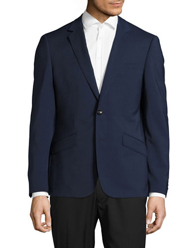 Sondergaard Tonal Plaid Suit Jacket-BLUE-42 Regular