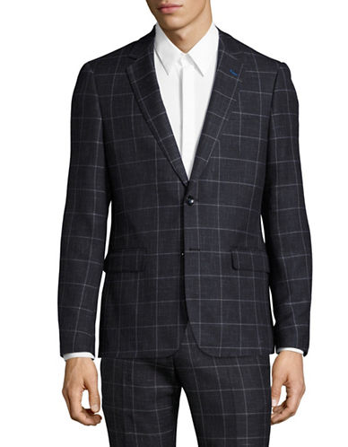 Sondergaard Slim Fit Heathered Check Suit Jacket-BLUE-40 Tall