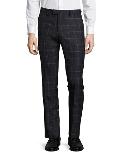 Sondergaard Slim Fit Heathered Check Dress Pants-BLUE-34X32
