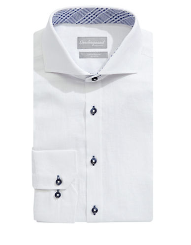 Sondergaard Modern-Fit Linen Dress Shirt-WHITE-16-34/35