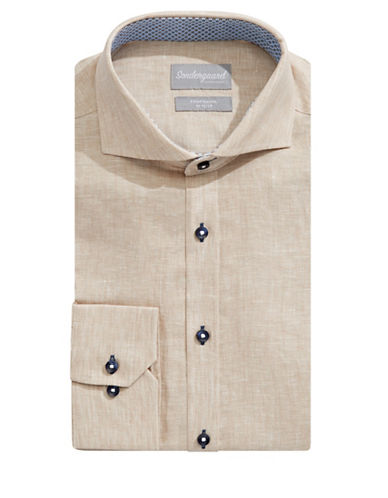 Sondergaard Modern-Fit Linen Dress Shirt-BEIGE-15-32/33