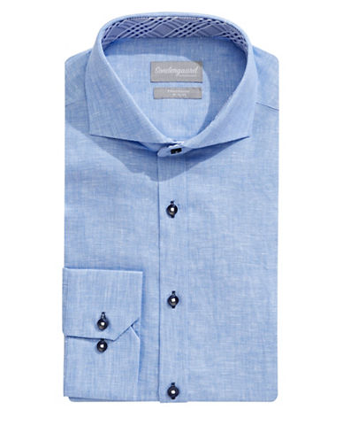Sondergaard Modern-Fit Linen Dress Shirt-LIGHT BLUE-14-32/33