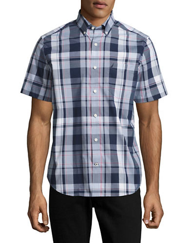 Nautica Short Sleeve Plaid Sport Shirt-MARITIME NAVY-Small