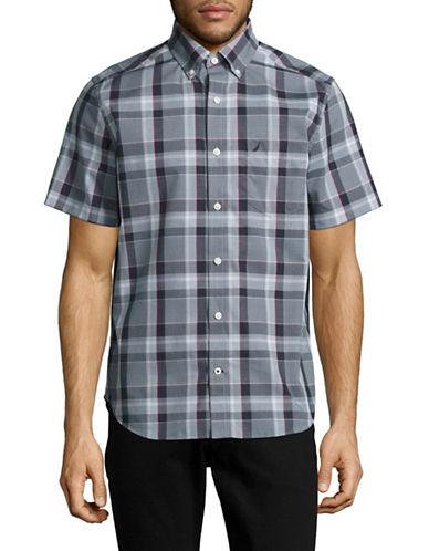 Nautica Short Sleeve Plaid Sport Shirt-PETROL-Small