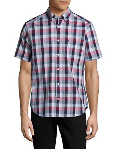 Nautica Short Sleeve Plaid Sport Shirt-MARITIME NAVY-Small
