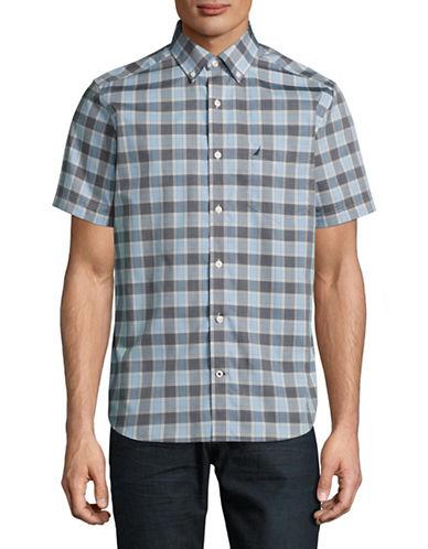 Nautica Short Sleeve Plaid Sport Shirt-LIGHT BLUE-XX-Large