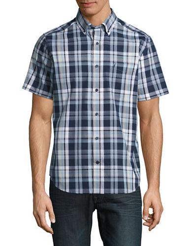 Nautica Short Sleeve Plaid Sport Shirt-BLUE-Small