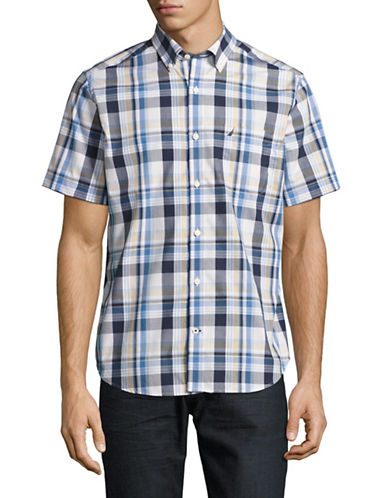 Nautica Short Sleeve Plaid Sport Shirt-BRIGHT WHITE-Small