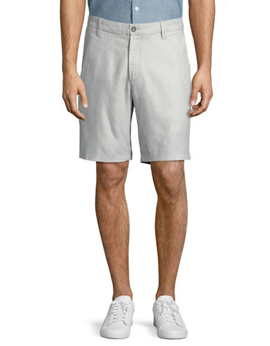 Nautica Flat Front Linen-Cotton Shorts-GREY-40