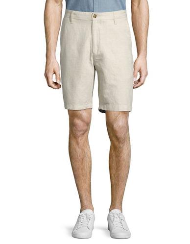 Nautica Flat Front Linen-Cotton Shorts-NATURAL-36
