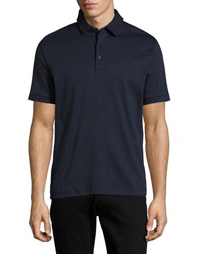 Nautica Short Sleeve Cotton Solid Softex Polo-NAVY BLUE-Small