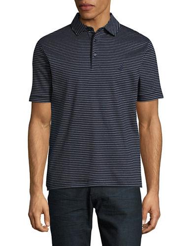 Nautica Short Sleeve Cotton Stripe Polo Shirt-BLUE-Small