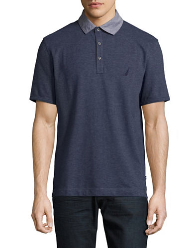 Nautica Contrast Collar Polo-BLUE-Large 89022946_BLUE_Large