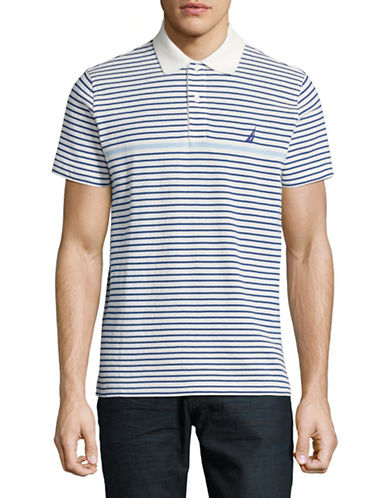 Nautica Striped Pique Polo-WHITE-Medium