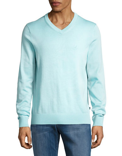 Nautica Cotton-Blend V-Neck Sweater-BLUE-Small 88913832_BLUE_Small