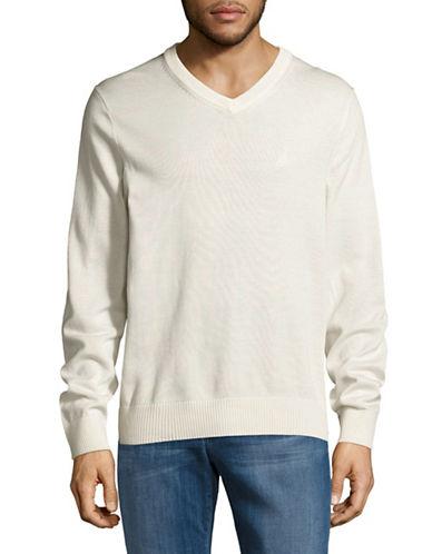 Nautica Cotton-Blend V-Neck Sweater-WHITE-Small