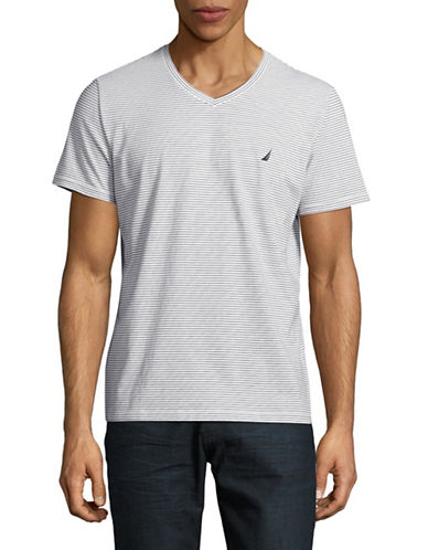 Nautica Cotton Stripe V-Neck T-Shirt-WHITE-X-Large 88913876_WHITE_X-Large
