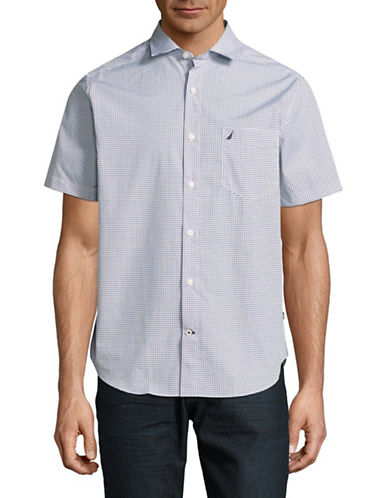 Nautica Dots Cotton Short-Sleeved Shirt-WHITE-Medium