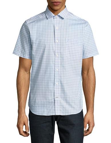 Nautica Short Sleeve Check Sport Shirt-BLUE-Small