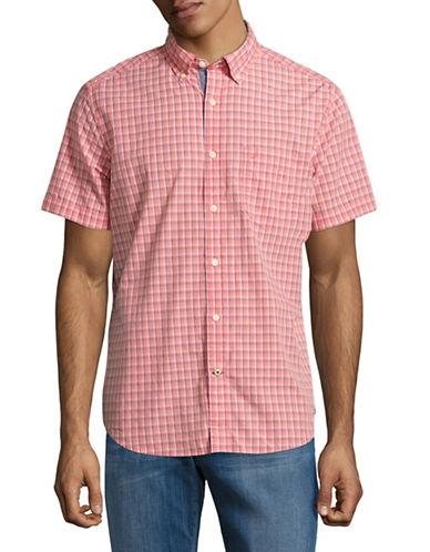 Nautica Poplin Plaid Sport Shirt-PINK-X-Large