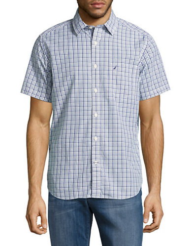 Nautica Short Sleeve Cotton Multi Plaid Shirt-BLUE-Medium