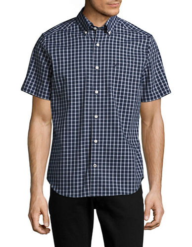 Nautica Checked Classic Fit Sport Shirt-BLUE-Small