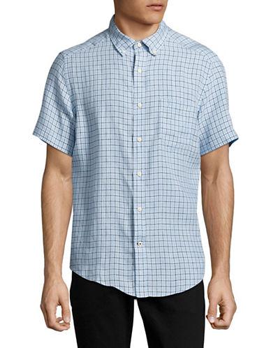 Nautica Checked Linen Sport Shirt-BLUE-Medium