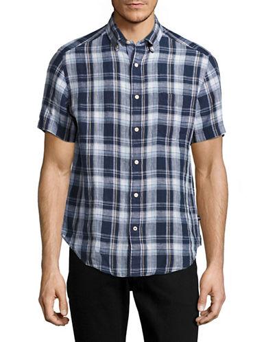 Nautica Short Sleeve Plaid Linen Shirt-BLUE-Small