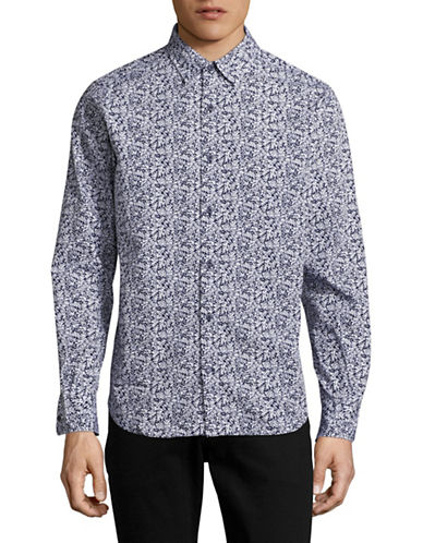 Nautica Palm Print Sport Shirt-MARITIME NAVY-Medium