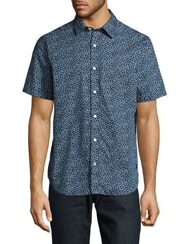 Nautica Short Sleeve Floral Cotton Shirt-BLUE-Small