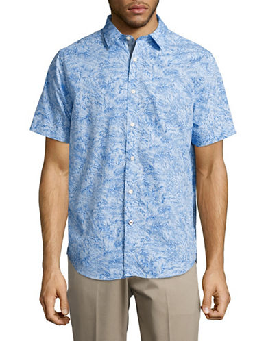 Nautica Willow Print Sport Shirt-BLUE-Medium