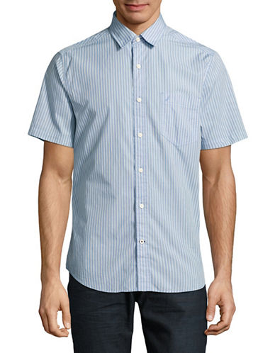Nautica Cotton Stripe Short Sleeve Shirt-CLEARSKIES-Small